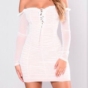 white ivory beige ruffle off shoulder mini dress